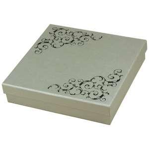 Pudełko LENA kolia srebrne+Czarny nadruk