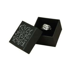 Pudełko LENA pierśc.czarne+srebrny nadruk