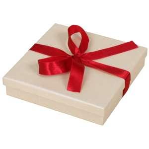 Pudełko LENA kolia Ecru z tasiemką bordo