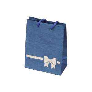 Torebka TINA kokardka niebieska 9x12x5 cm.