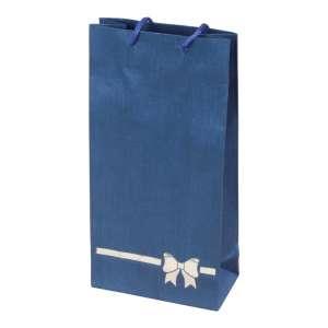 Torebka TINA kokardka niebieska 12x24x6 cm.