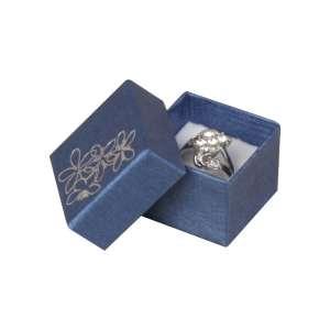 Pudełko TINA kwiatki pierścionek Niebieskie