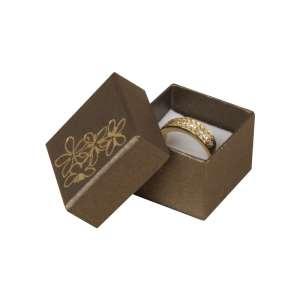 Pudełko TINA kwiatki pierścionek brązowe