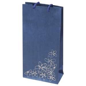 Torebka TINA kwiatki niebieska 12x24x6 cm.