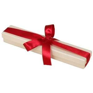 Pudełko LENA bransoletka Ecru z tasiem.bordo