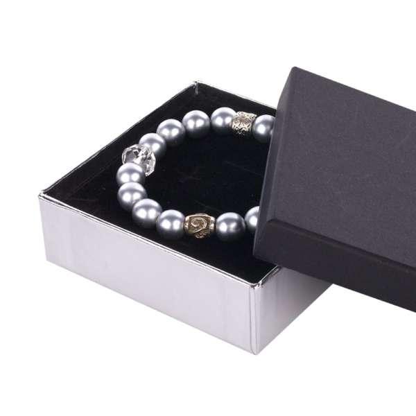 Pudełko CARLA uniwersalne duże czarno-srebrne