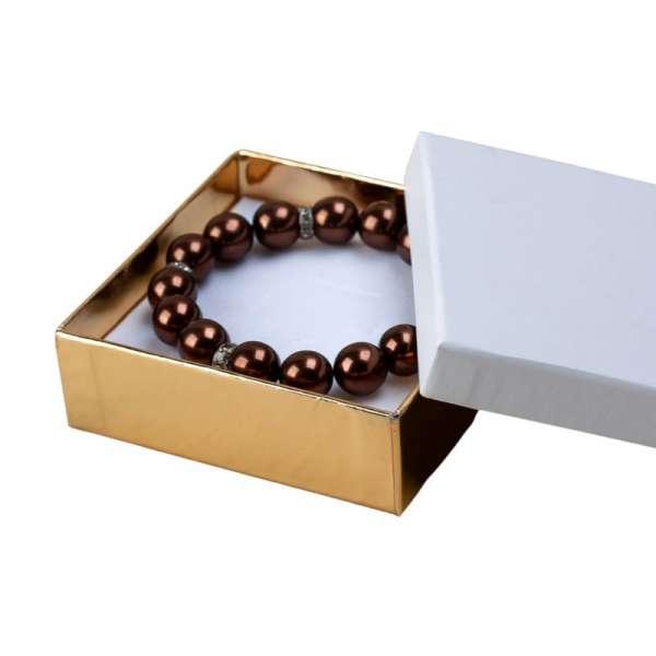 Pudełko CARLA uniwersalne duże biało-złote