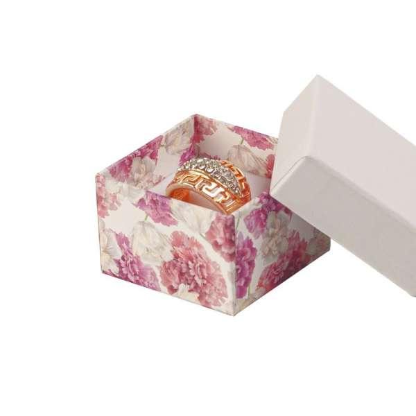 Pudełko CARLA pierścionek białe + kwiaty