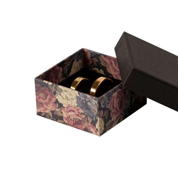 Pudełko CARLA uniwersalne małe czarne + kwiaty